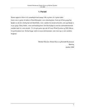 Rapport i Teknologi: Vindmøller - Vedvarende/alternativ energi