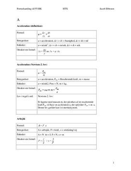 Formler til fysik - Noter til Fysik i Gymnasiet