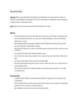 Analyse: Das dicke Kind Marie Luise Kaschnitz - Tysk Stil