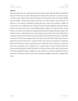 SRP om Kvinder i Iran i Engelsk A og Historie A