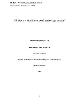 SRP om J.S. Bach i Musik A og Historie A