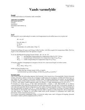 Vands varmefylde - Rapport i fysik