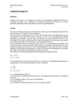 Gnidningskraft - rapport i fysik