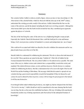 SRO om Galileo Galilei i Fysik og Historie