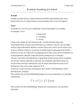 Kvantitativ Forsæbning af et Fedtstof - Forsøg i Kemi
