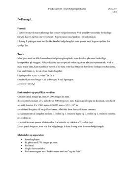 Fysik A rapport om lysets bølgeegenskaber