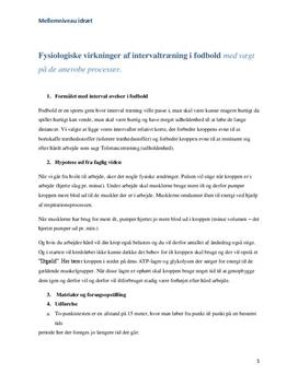 Fysiologiske virkninger af intervaltræning (anerobe) | Rapport