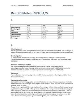 Rentabilitetsanalyse - Rentabiliteten i VITO A/S