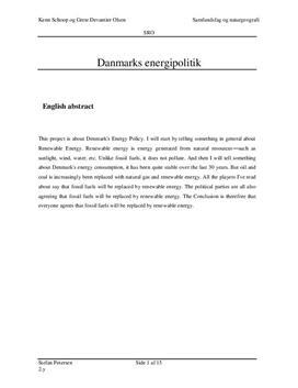 SRO om Danmarks energipolitik og vedvarende energi | Naturgeografi B og Samfundsfag C