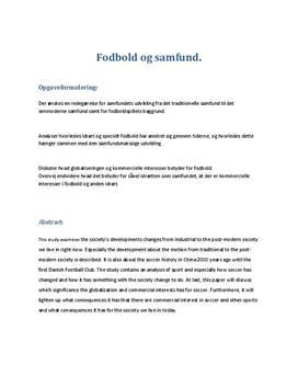 SRP om Fodbold og Samfund i Samfundsfag A og Idræt B