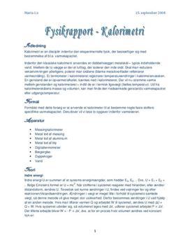 Kalorimetri - rapport i fysik