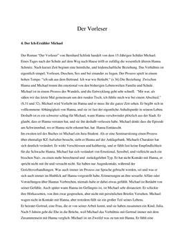 Der Vorleser af Bernhard Schlink   Resumé og personkarakteristik