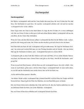 Aschenputtel   Handlungsablauf und analyse