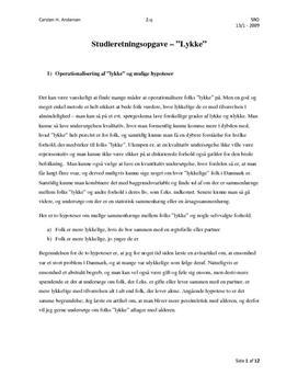 SRO om befolkningens lykke og chi-i-anden-test i mat A og samf A