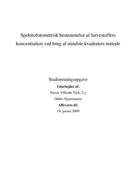 SRO - Spektrofotometrisk bestemmelse af farvestoffers koncentration ved brug af mindste kvadraters metode