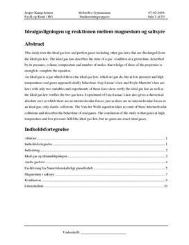 SRO om Idealgasligningen i Fysik & Kemi