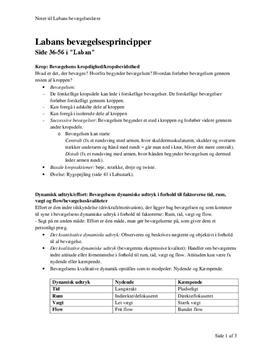 Noter til Labans bevægelsesprincipper
