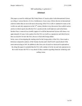 SRP: USA's Rolle som Verdens Supermagt i Samfundsfag og His
