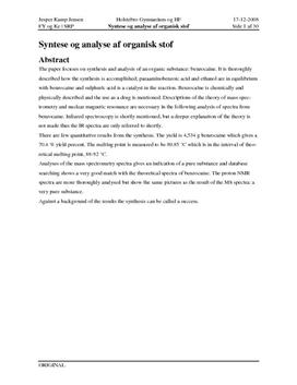 SRP: Syntese og Analyse af Organisk stof i Kemi og Fysik