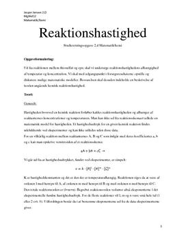 SRO - Kemi/matematik: mindste kvadraters metode i forbindelse med reaktion mellem thiosulfat og syre