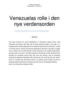 SRP om Venezuela og den nye verdensorden   Historie A og Samfundsfag A