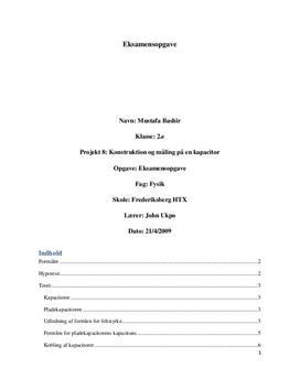Pladekondensator - Eksamensprojekt i fysik