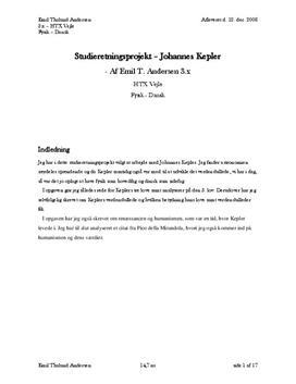 SOP om Johannes Kepler i Fysik A og Dansk A