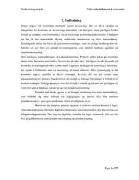 SOP om Investering og Kalkulationsrenten i VØ og Matematik