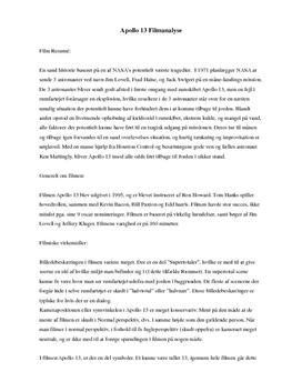 Apollo 13 | Analyse af filmiske virkemidler
