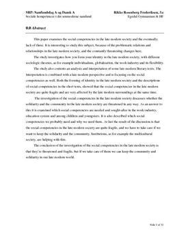 SRP om Sociale Kompetencer i det Senmoderne Samfund