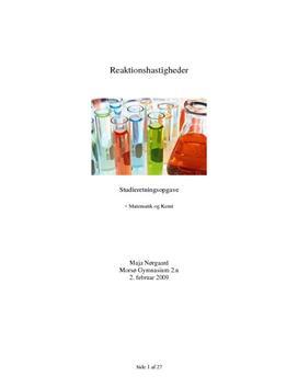 SRO om Reaktionshastigheder i Matematik og Kemi i forbindelse med reaktion med brom og bromat