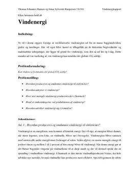 Vindenergi - Rapport i Naturgeografi
