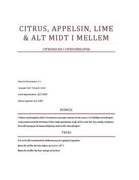 Rapport om Titrering af Citronsyre i Citrusfrugter - Studienet.dk