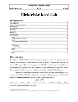 Elektriske kredsløb - Noter i Fysik