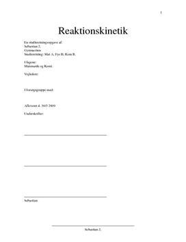 SRO om Reaktionskinetik og differentialligninger