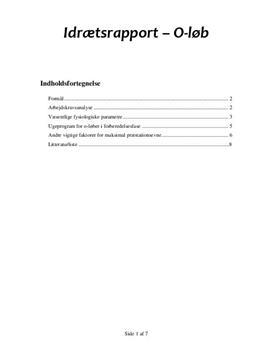 Idrætsrapport: Orienteringsløber/O-løber | Arbejdskravsanalyse