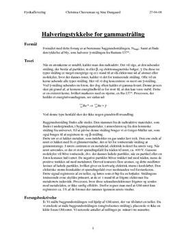 Svækkelse af stråling - Gammastråling i bly