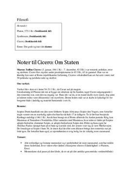 Noter til Cicero: Om Staten