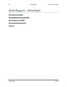 Gitterformlen -  Rapport i Fysik