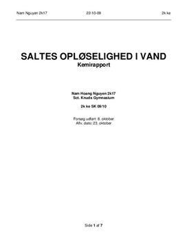 Rapport i Kemi: Saltes opløselighed i vand