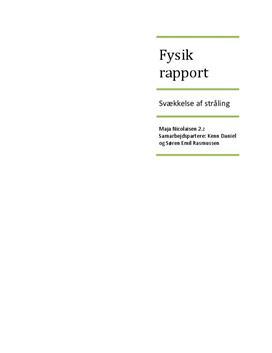 Absorption af radioaktiv stråling - Rapport i Fysik