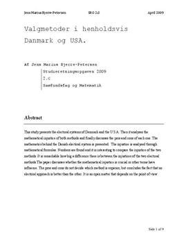 SRO om mandatfordeling og valgmetoder i Danmark og USA | Matematik A og Samfundsfag A