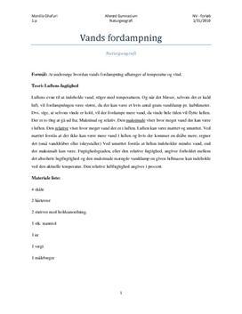 Fordampning af vand: Temperatur og vind - Rapport i naturgeografi