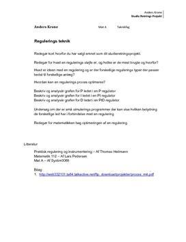 SOP om Regulering i Teknikfag A og Matematik A