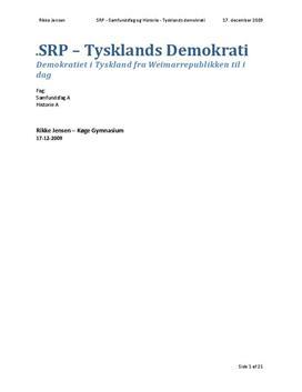 SRP om Tyskland og Demokrati i Samfundsfag og Historie