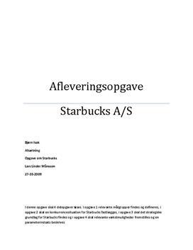 Starbucks Coffee   Afsætning A