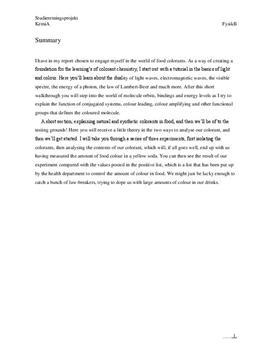 SRP: Farvestoffer og Farvning af Fødevarer i Kemi A og Fysik A