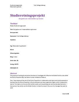 SOP om Det Gyldne Snit i Matematik A og Dansk A