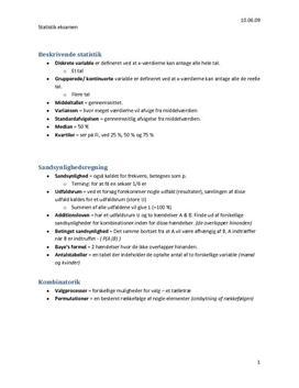 Statistik - noter til eksamen