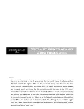 SRP om C-vitamin og Slavehandel i Biologi A og Historie A